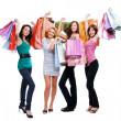 Stock Photo: Fun beauty girls out shopping