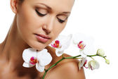 Trattamento della pelle per donna adulta di bellezza — Foto Stock