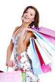 Zadowolony ładny młoda kobieta, zakupy — Zdjęcie stockowe