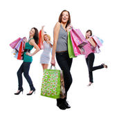 Women after shopping — Stock Photo