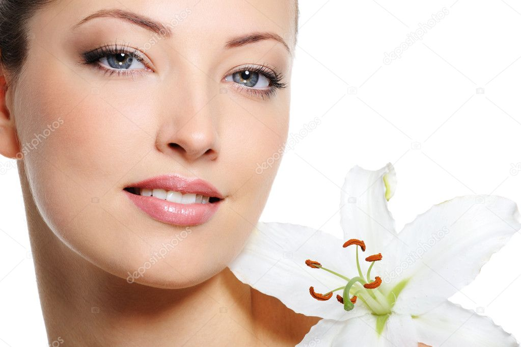 Fresh clear healthy skin on the face of beautiful woman over white background — Stock Photo #1543737