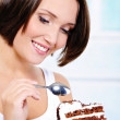 Woman going to eat a sweet pie — Stock Photo