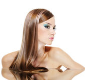 Profile female face with health hairs — Stock Photo