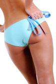 Femmina con un nastro di misurazione — Foto Stock