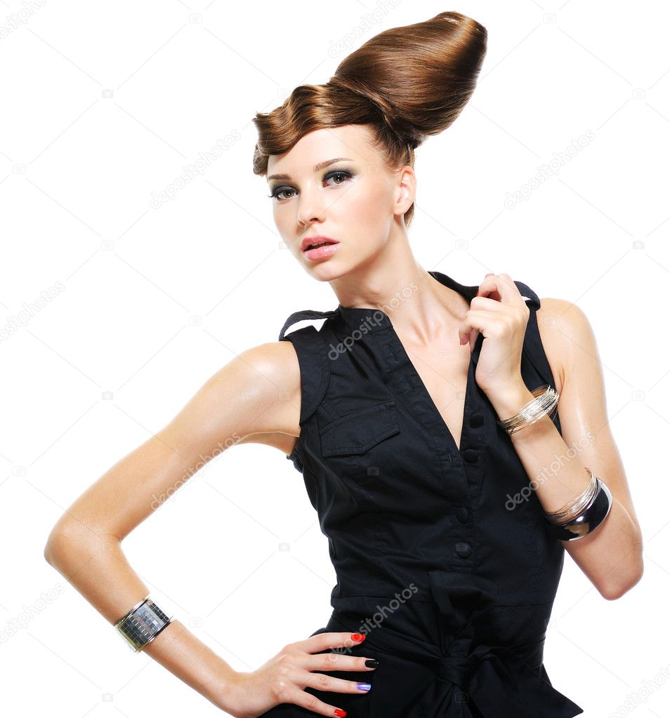 Beautiful caucasian woman dressed in black fashionable dress posing at studio — Stock Photo #1550392