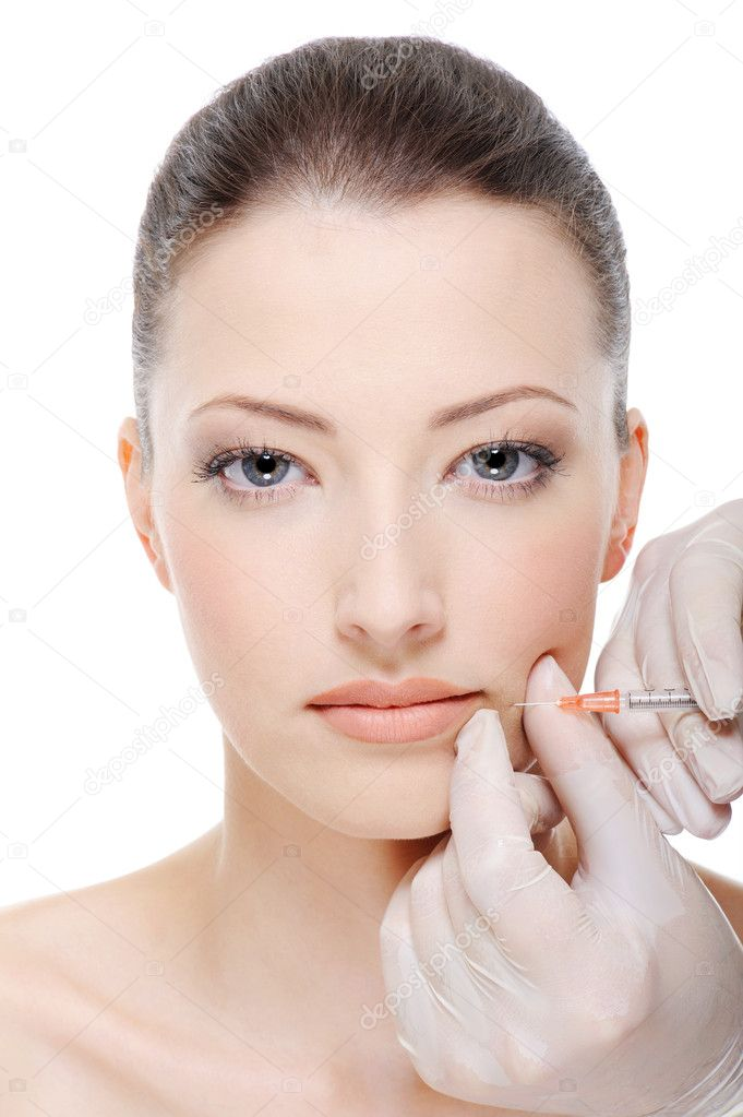 Injection of botox on female lips - female portrait — Stock Photo #1550494