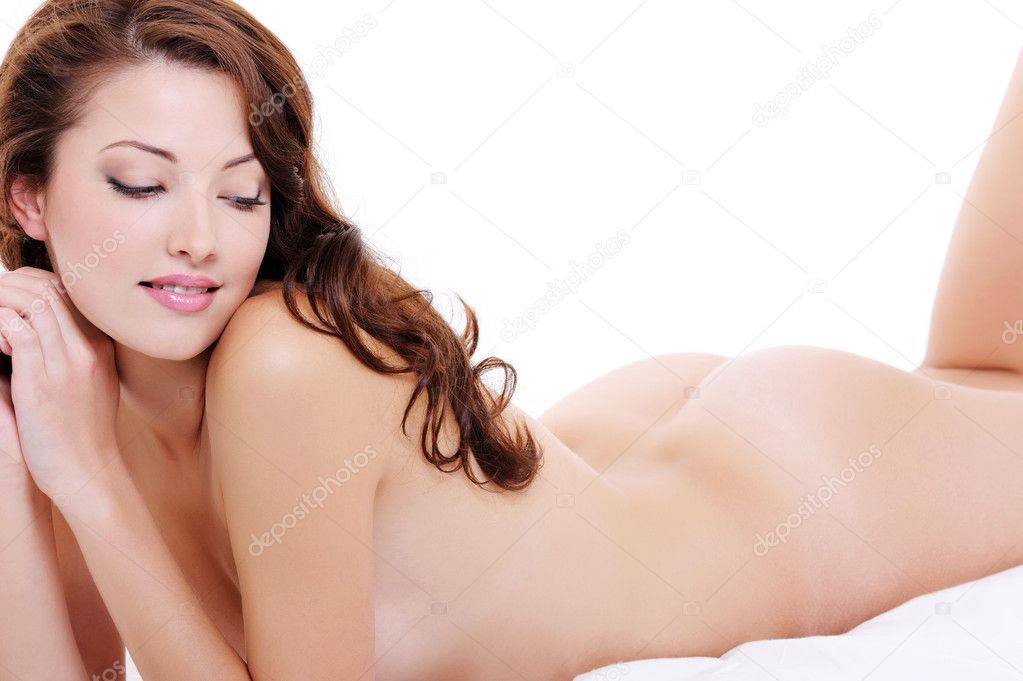 Sexy young adult nude female flirting on bed — Foto de Stock   #1553137