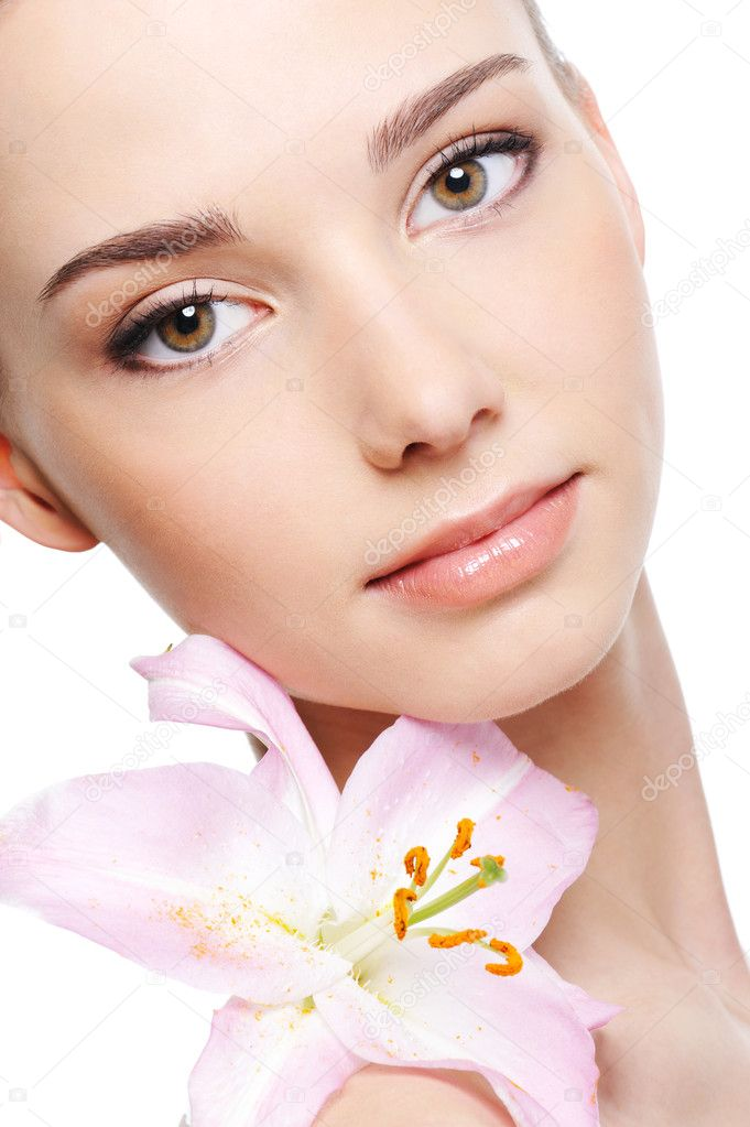 Healthy skin of young female face - isolated — Stock Photo #1553449