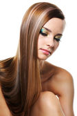 Woman with straight hairs — Stock Photo