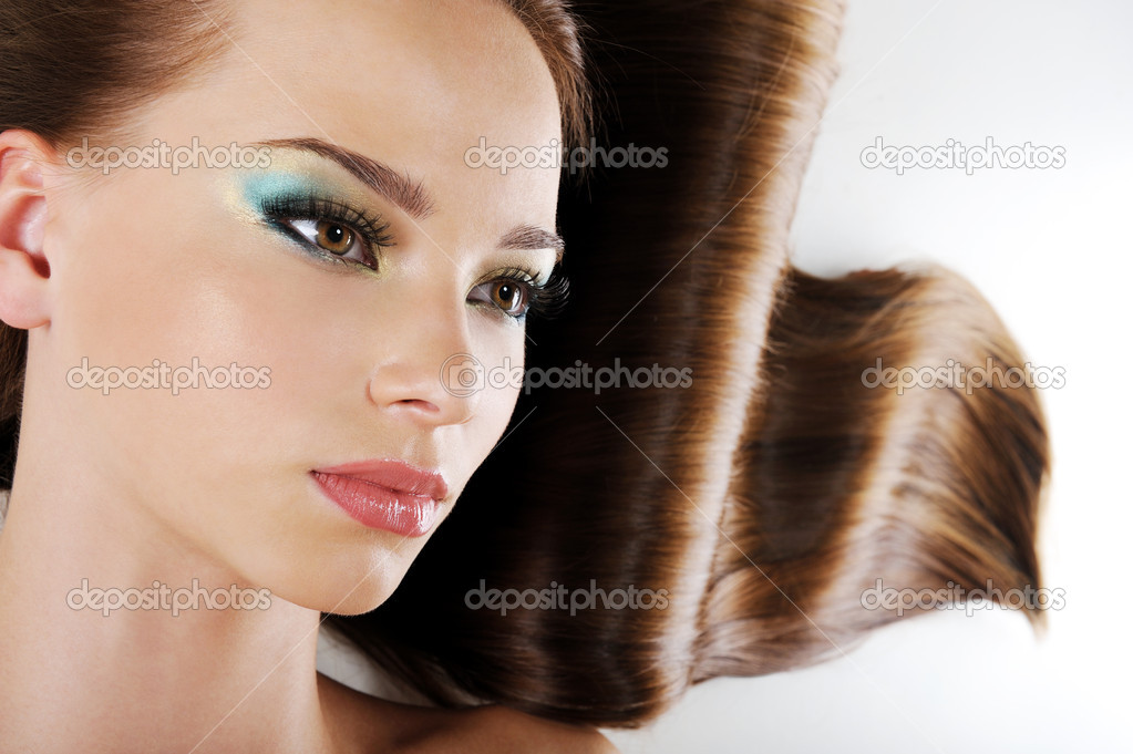 Beauty female face with  brown long healthy hair  Stock Photo #1601618