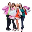 Foto Stock: Happy women with purchase