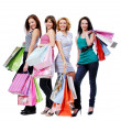Beautiful women with shopping bags — 图库照片
