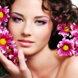 Woman face with flowers - Lizenzfreies Foto