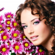 Woman with flowers - Foto Stock