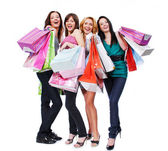 Happy women with purchase — Stock Photo