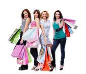 Beautiful women with shopping bags — Stock Photo