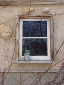 Window and mason jar — Stock Photo