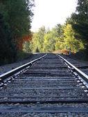 Dew on train tracks — Stock Photo