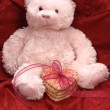 Stock Photo: Pink bear with heart cookies