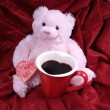 Stock Photo: Pink bear with heart cookie and mug