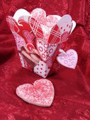 Heart Cookies in Hearts box — Stock Photo