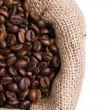 Coffee in a sack in left side - Stock Photo