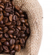 Royalty-Free Stock Photo: Coffee in a sack in left side