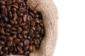 Coffee in a sack in left side — Stock Photo