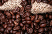 Coffe and a sack cloth — Stock Photo