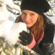 Girl and snow — Stock Photo