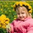 Girl and dandelion — Stock Photo