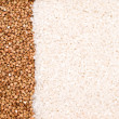 Buckwheat and rice background — Stock Photo
