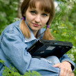 Stock Photo: Girl and laptop