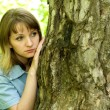 Girl and tree — Stock Photo #1423335