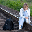 Woman and railroad — Stock Photo #1423512