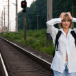 Royalty-Free Stock Photo: Woman and railroad