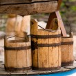 Old wooden buckets — Stock Photo