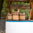 Old wooden buckets - Stock Photo