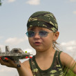 Little boy and war-plane - Stock Photo