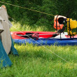 Stock Photo: Tent and kayak