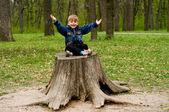 Little boy in wood — Stock Photo