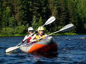 Kayak on river — Stock Photo