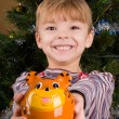 Stock Photo: Boy with piggy bank