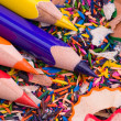 Multicolor pencils and shavings — Stock Photo