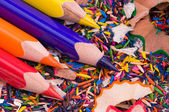 Multicolor pencils and shavings — Stock Photo