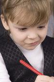 Chlapec psaní — Stock fotografie