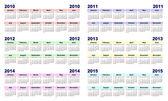 2010 - 2015 calendar — Stock Photo