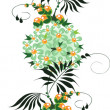 Ornament from green and yellow Flowers — Stock Vector