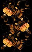 Orange ornement sur fond noir — Vecteur