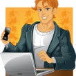 Young men with phone and laptop — Stock Vector